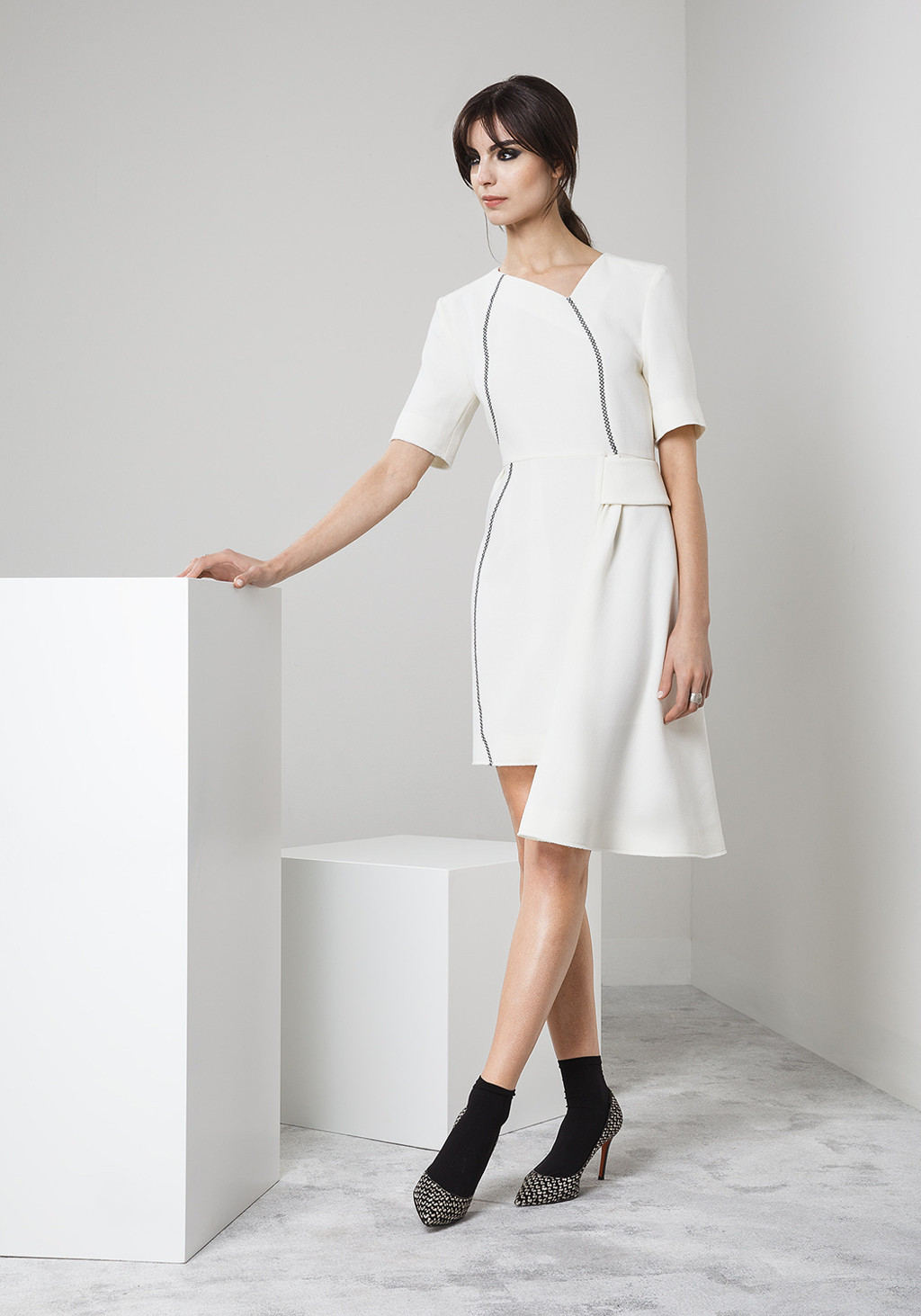 White wool crepe asymmetric dress