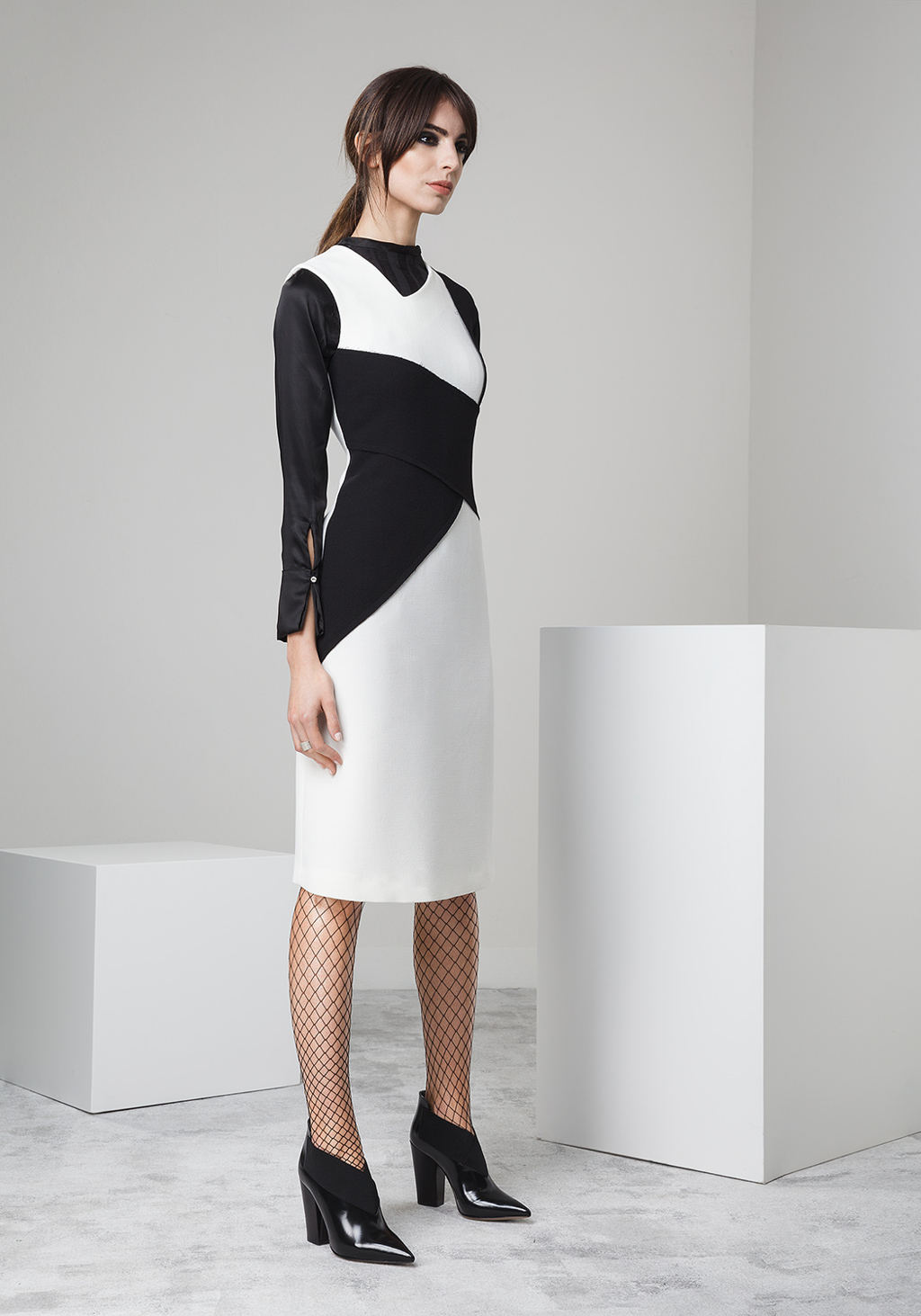 Black and white wool crepe dress
