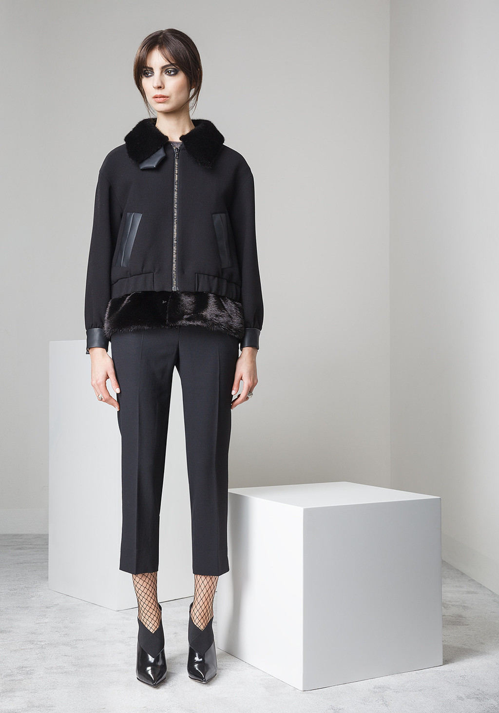 Double crepe bomber with mink collar and bottom