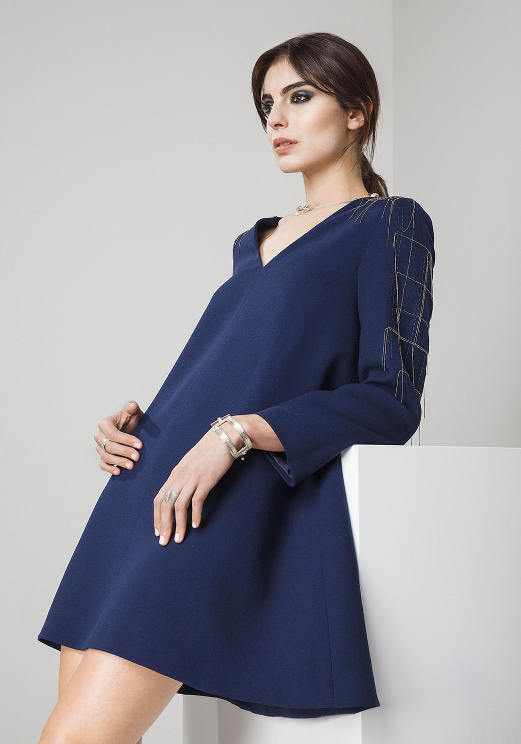 Wool crepe with exclusive metal embroidery dress