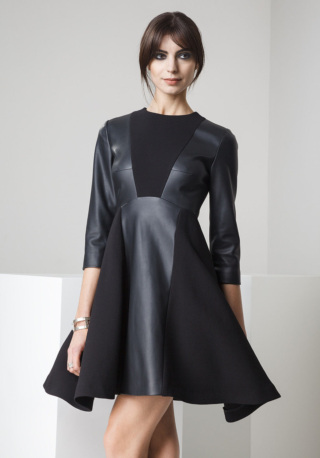Double crepe and leather dress