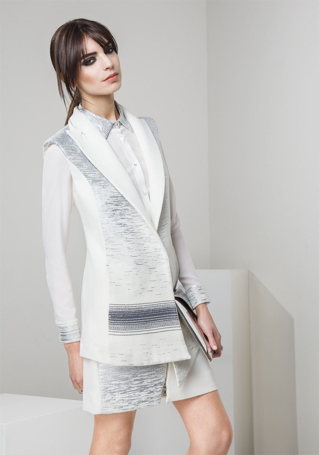White wool crepe and jacquard vest - white wool crepe and jacquard asymmetric skirt