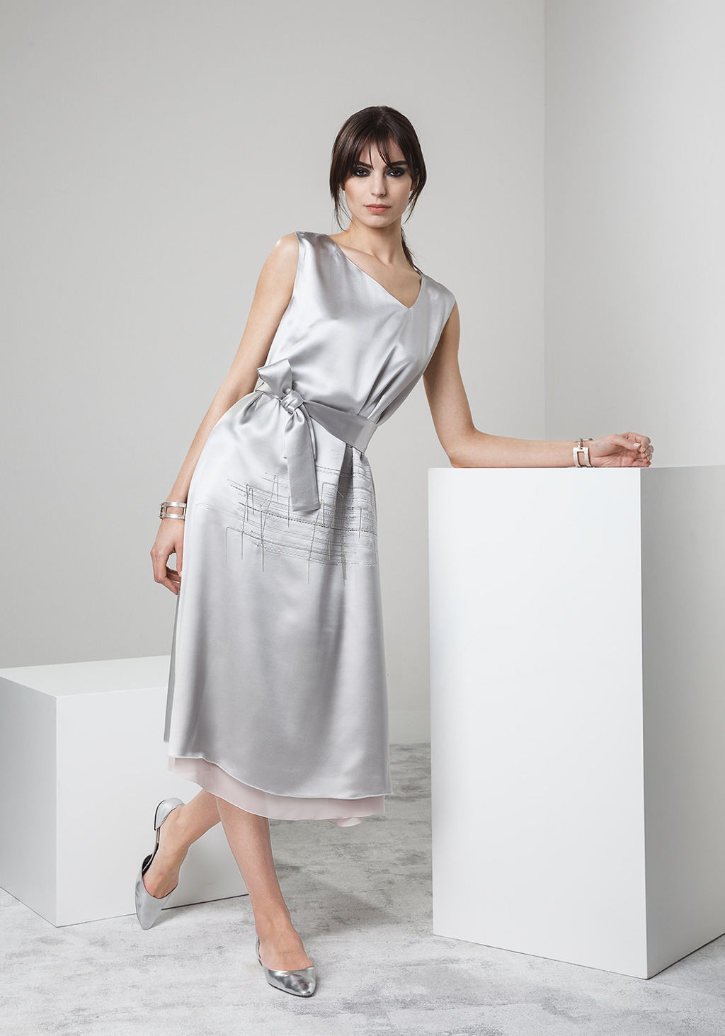 Silk long dress with unique metal embroidery