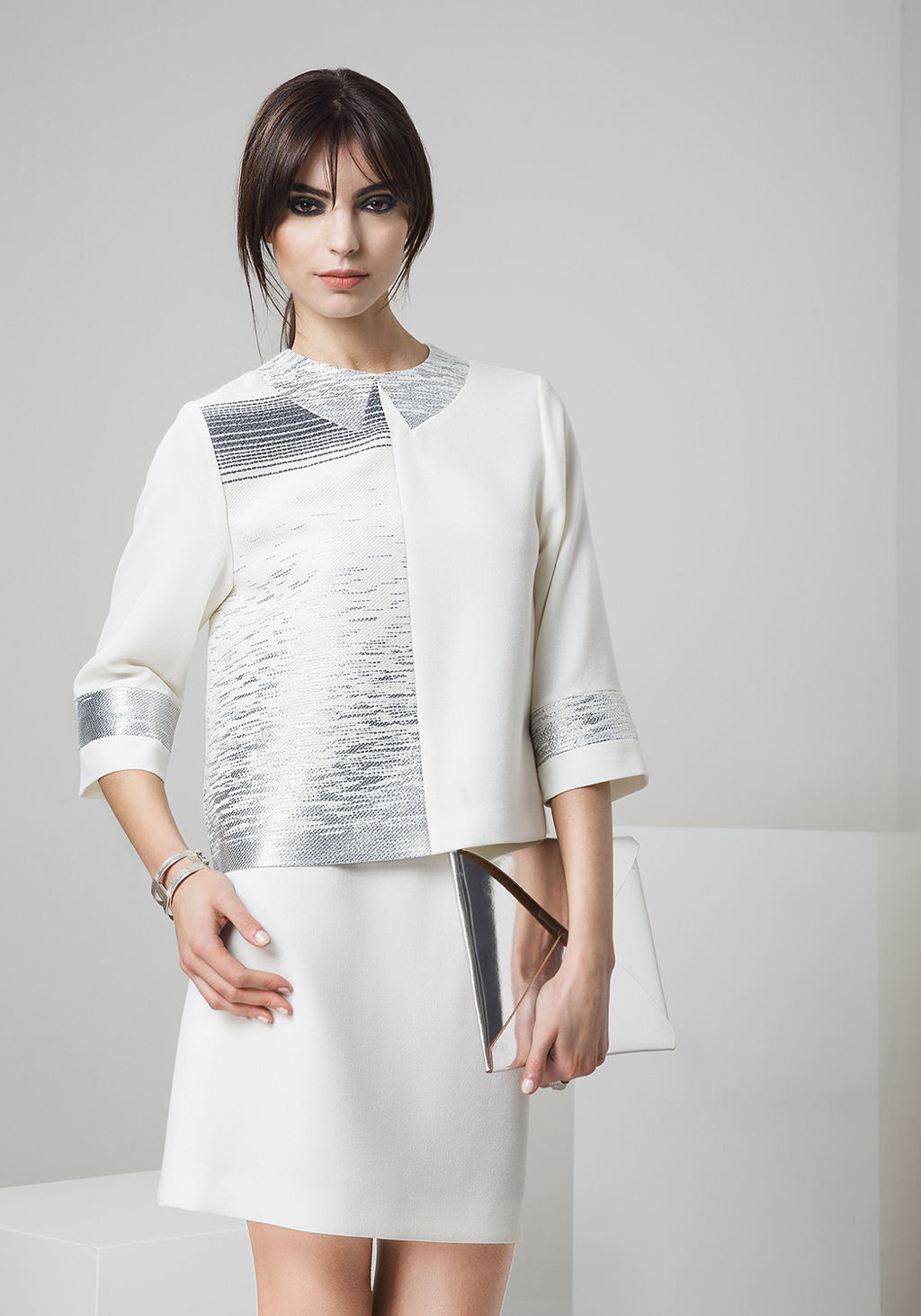 White wool crepe and jacquard top - white wool crepe skirt