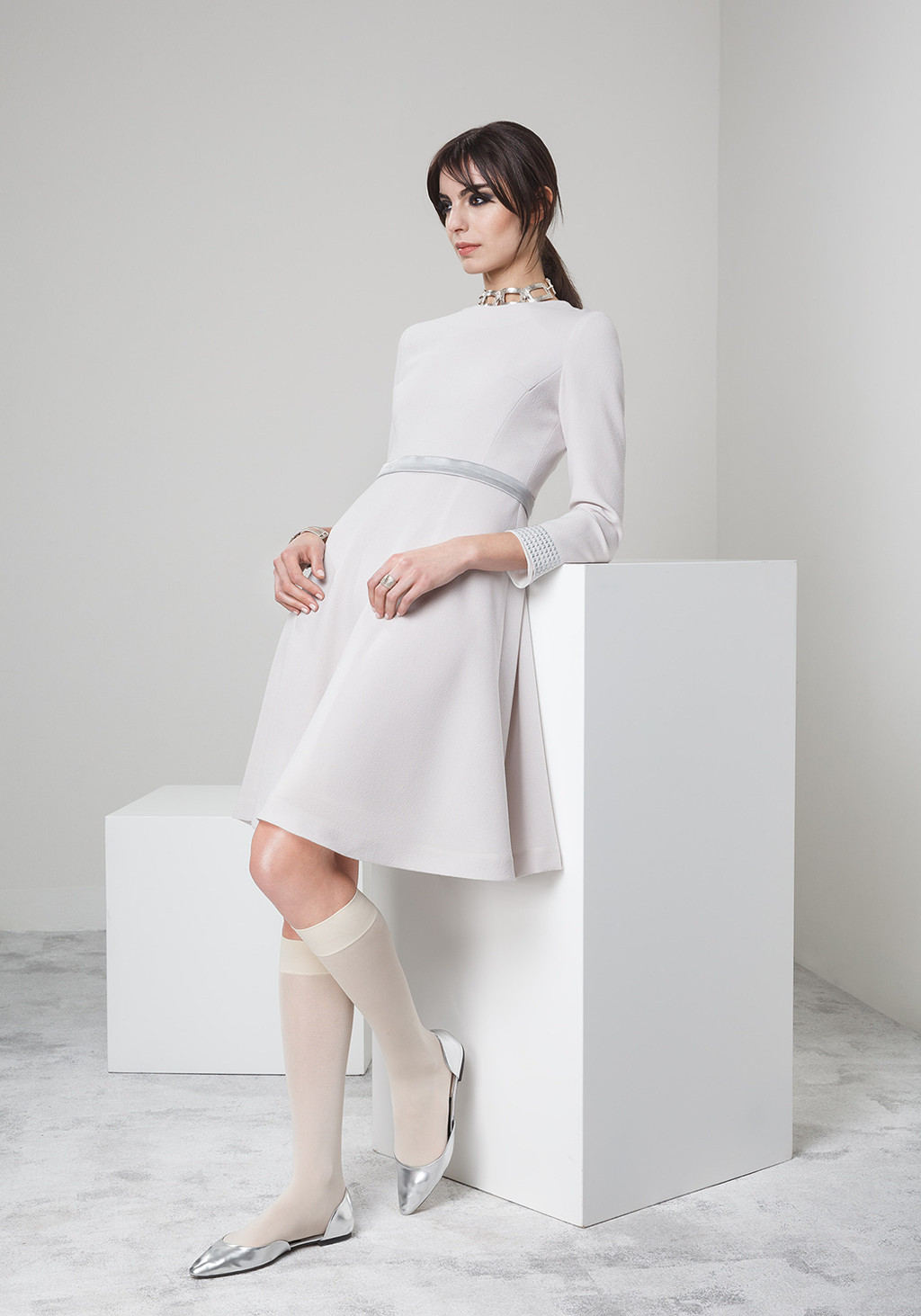 Wool crepe dress with studdied cuff