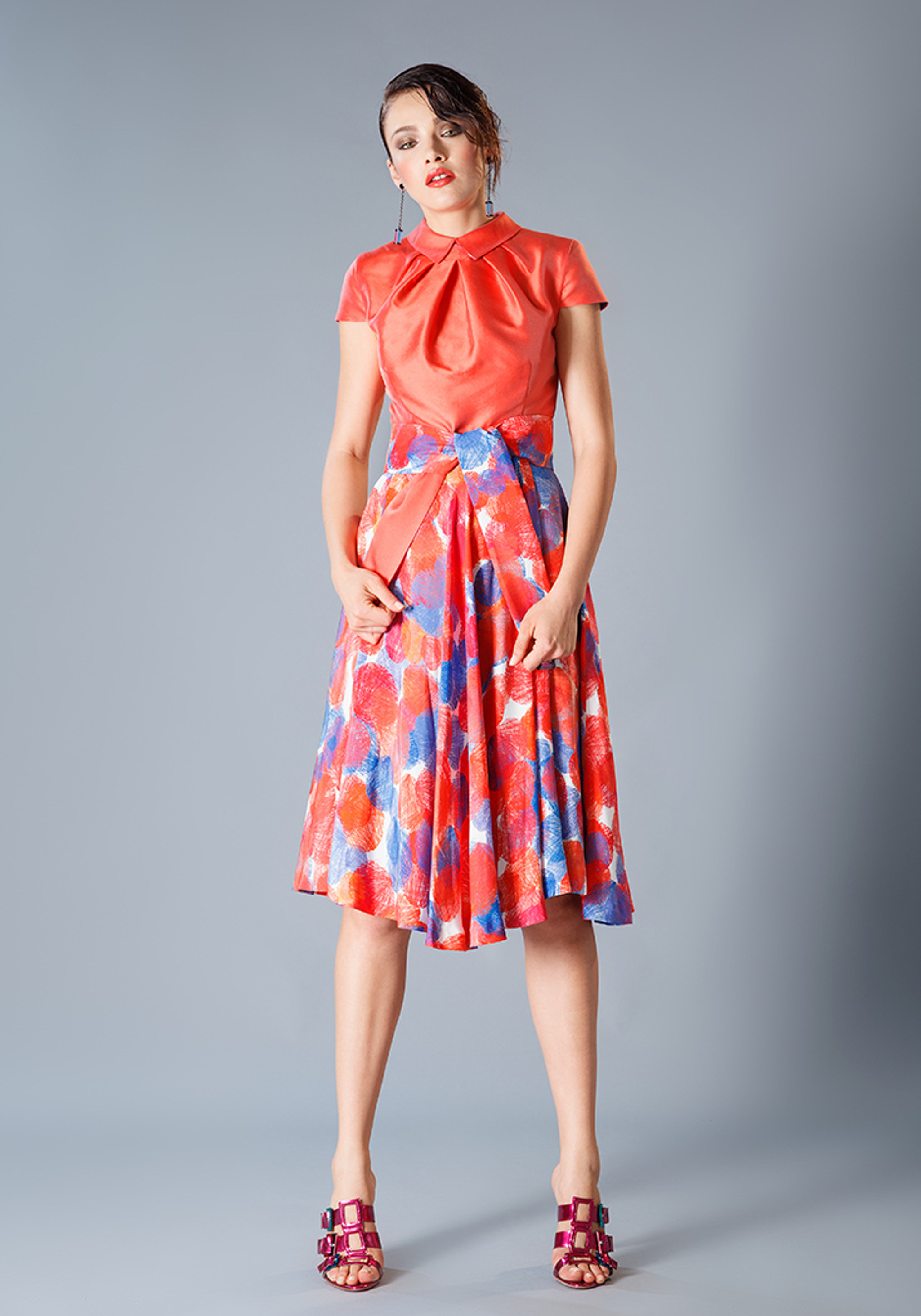 Knee length coral dress with a silk colourful dots fantasy bottom knee length coral dress with a silk colourful dots fantasy bottom part ombrellifo Choice Image