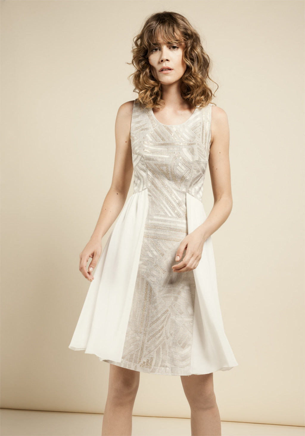 White chiffon dress with unic decoration laser insert in white silk with shining small gold studs