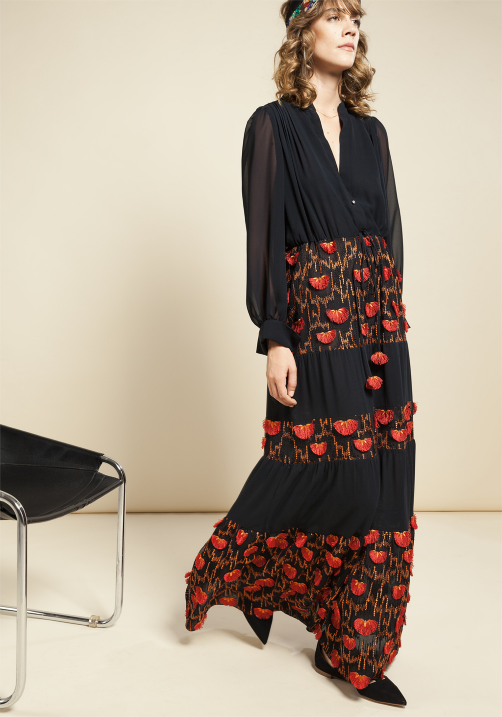 Black chiffon long dress with orange & red ethnic floreal embroidery