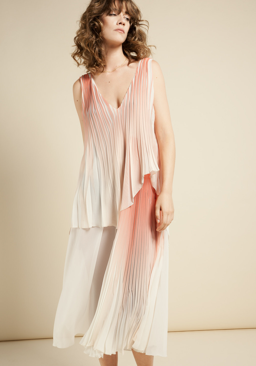 Coral & pink plited dress and white chiffon pannel