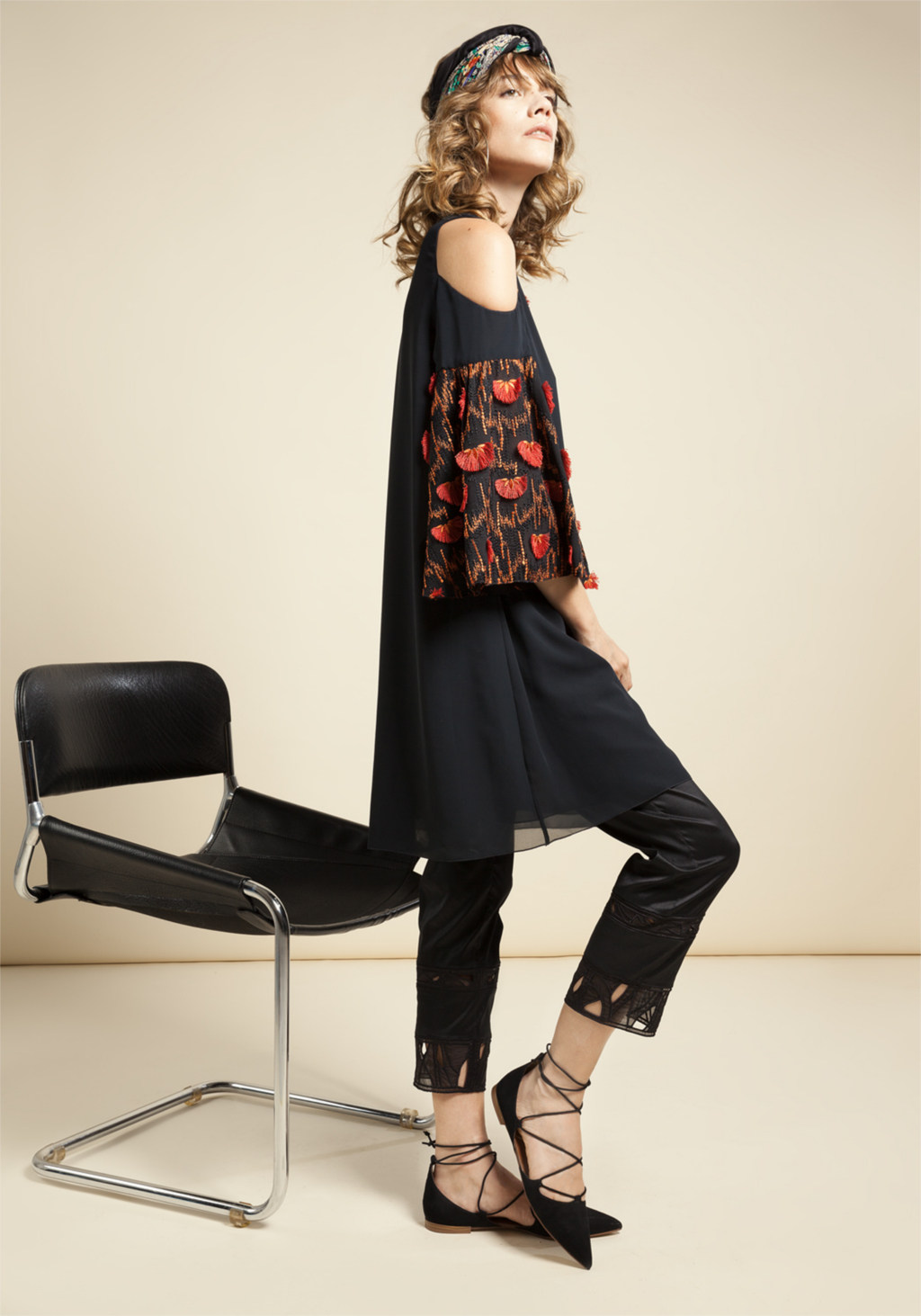 Black chiffon dress with orange & red ethnic floral embroidery - Black strech chantung with insert in unic embroidery organza