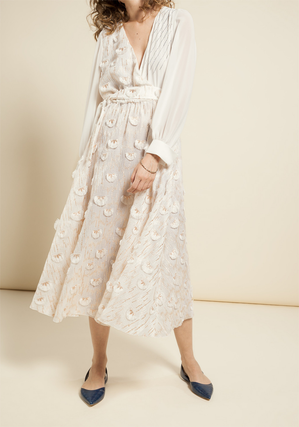 White chiffon dress with pink & white ethnic floral embroidery