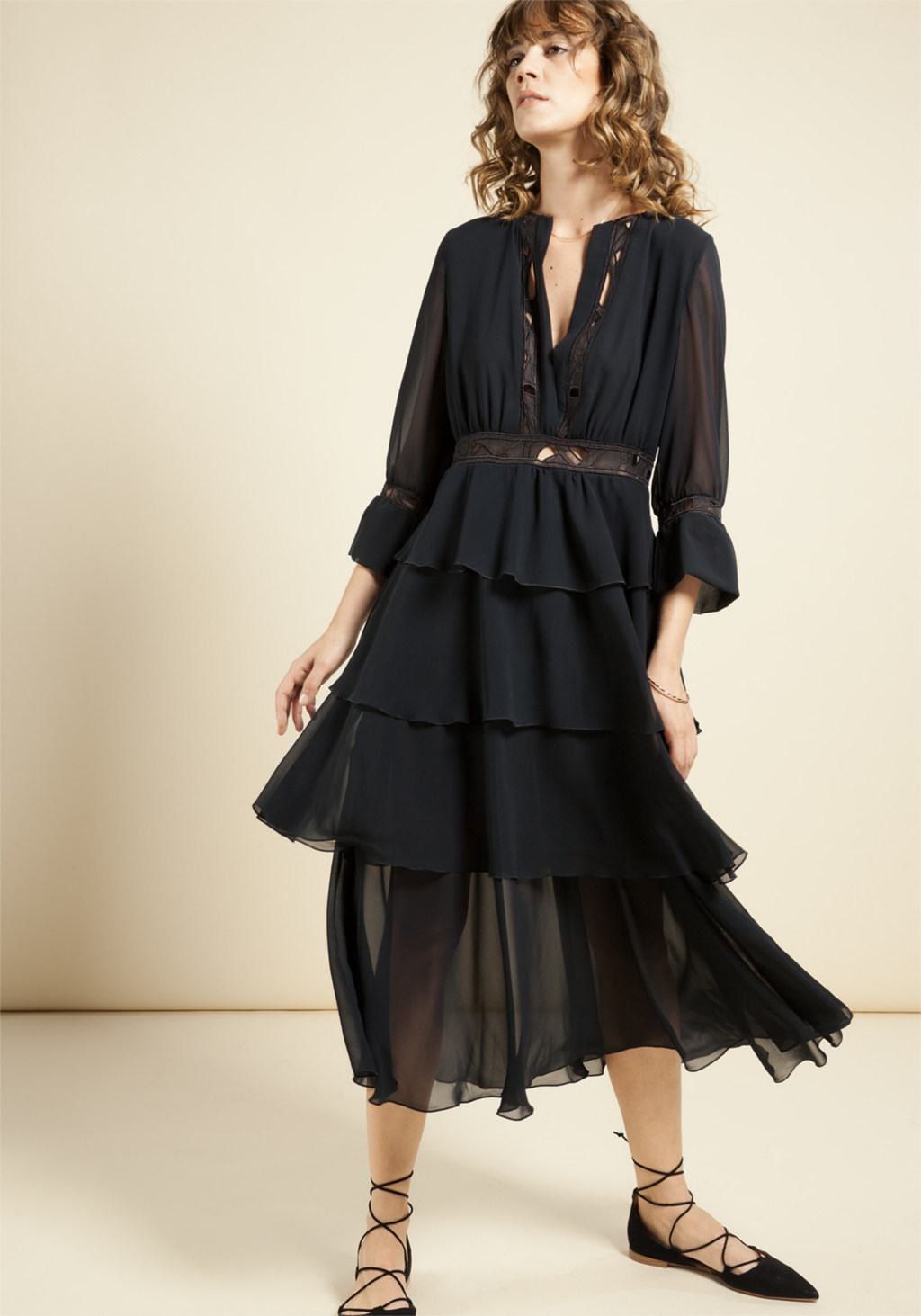 Black chiffon dress with insert in unic embroidery organza