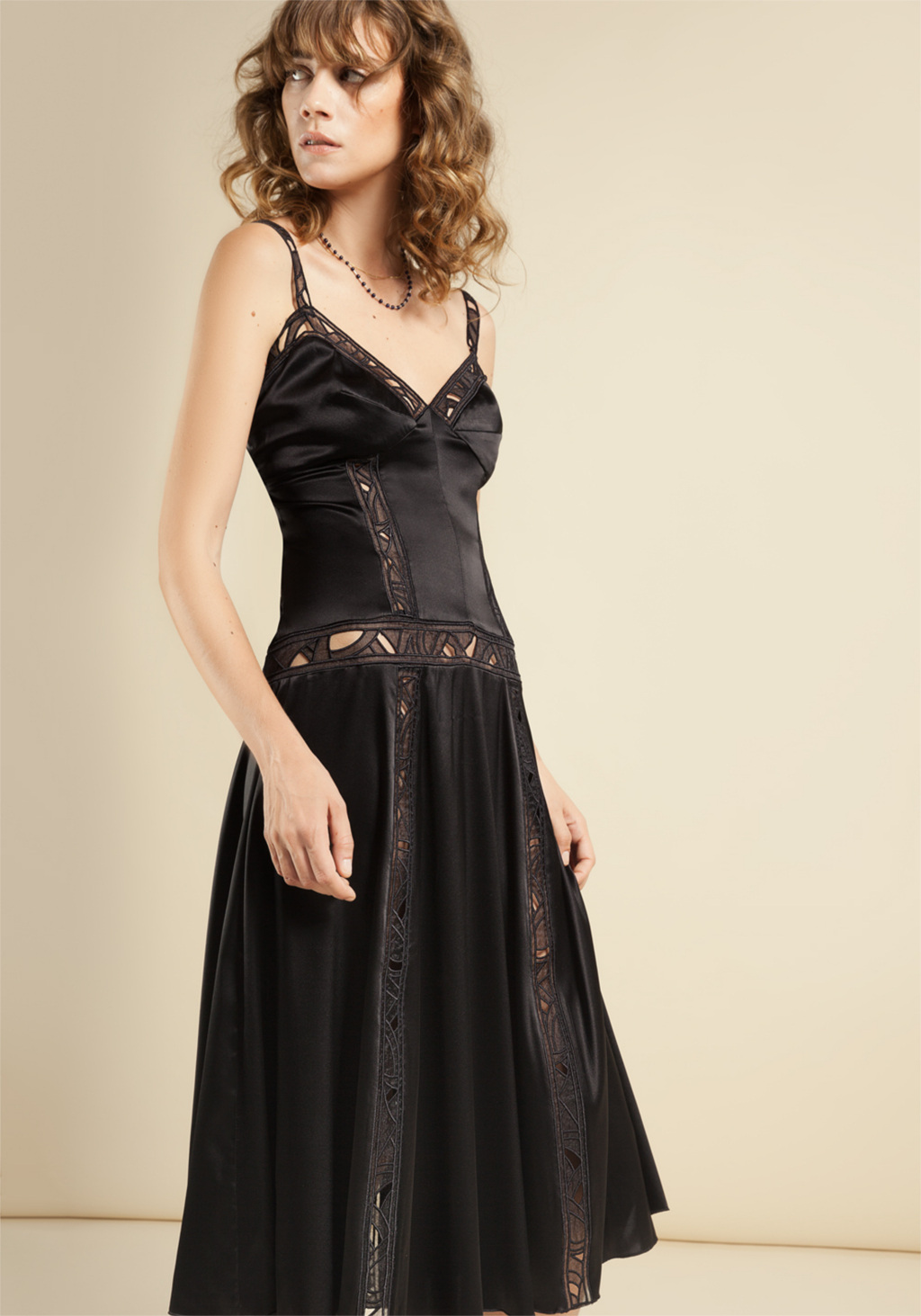 Black strech silk long dress with insert in unic embroidery organza